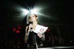 Kønne Anne Lindfjeld fra MTV Headbangers Ball, var ikke kuvertpige i år som hun har været de andre år, men til gengæld fik hun lov til at præsentere en pris. Foto: Jacob Dinesen.
