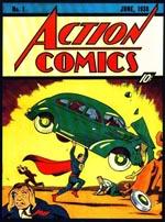 Se! Er det en anti-bilist? En vandalist? Nej, det er ... Superman! 'Action Comics' #1 (1938) med forside af Joe Shuster