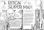 """""""I am a veritable god,"""" udbryder det intellektuelle supermenneske i 'The Reign of the Supermanø' (1933) skrevet under pseudonymet Herbert S. Fine. Senere fik Siegel en bedre idé..."""