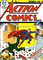 'Action Comics' #7 (1938) med forsiden af Joe Shuster