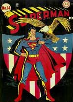 """Man kan næsten høre afsyngelsen af """"The Star-Spangled Banner."""" 'Action Comics' #14 (1942) med forside af Fred Ray"""