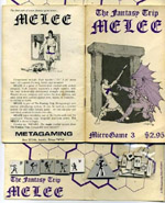 'Melee' i den allerførste udgave fra Metagaming, med bræt og brikker (fra Boardgamegeek.com).