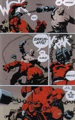 Et typisk eksempel på Hellboys tørre oneliners (fra 'Kisten i Lænker og Andre Historier')