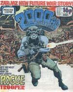 Den første forside med Rogue Trooper, tegnet af Dave Gibbons