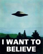 Den ikoniske plakat, Mulder har hængede på væggen i det forkrampede kælderkontor, hvor The X-Files holder til