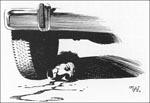 Én af Berni Wrightsons sort/hvide-vignetter, der afslutter hvert kapitel