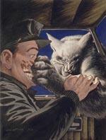 Én af farveillustrationerne - her er det Tarker's Mills' politibetjent, der møder varulven