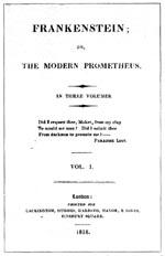 Forsiden til førsteudgaven af 'Frankenstein' fra 1818. Bemærk at Mary Shelleys navn ikke optræder.