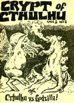 Giganternes første møde på omslaget til 'Crypt of Cthulhu' vol. 1 no. 2 - illustrator og redaktør Robert M. Price