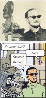 Endnu et eksempel på, hvordan Hergé lod sig meget direkte inspirere af virkeligheden - her en TV-mand fra Belgien, der optræder i 'Castafiores Juveler'