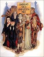 Leder man lidt på nettet, kan man finde forsideillustrator Josh Kirbys humoristiske, små illustrationer til 'Discworld'-universet. Dette visuelle bud på den excentriske samling udøde i 'Reaper Man' har han f.eks. kaldt The Fresh Start Club...