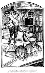 Et eksempel på bogens indre illustrationer - her husnissen Thimbletack.