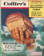 Forsiden af Collier's, april 1954. Hvis man læser teksten i den lille boks øverst t.h., ser man ganske tydeligt, hvad der bl.a. optog amerikanerne i disse år.