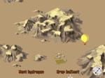 Fra én af spillets arkadesekvenser - her må spilleren styre en varmluftsballon rundt i Sahara