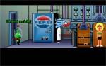 Meteorpolitiet (den lille grønne fætter) dukker op henimod spillets slutning. Det er Dr. Fred i midten og Daves kæreste Sandy i Zombie-O-Matic-maskinen yderst til højre.