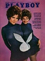 'Playboy Magazine' fra oktober 1970, med de første tvillinger - søstrene Collinson - på forsiden nogensinde.