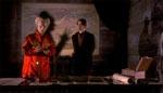 Greven og Harker - bemærk Draculas skygge, der lever sit eget liv.