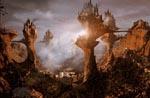 CGI-genereret landskab, som slet ikke passer til resten af filmen