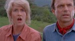 Dr. Sattler og Dr. Grant (Laura Dern og Sam Neill) får deres første glimt af dinosaurerne