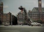 Reptilicus er løs i det indre København i filmens klimaks – bemærk detaljerne med bl.a. Berlingske Tidende i baggrunden.