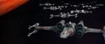 X-Wing-fighters på vej mod Dødsstjernen.