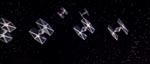 Kejserlige TIE-fighters angriber, anført af Darth Vader.