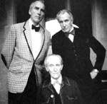 Tre ikoner: Christopher Lee (f. 1922), Vincent Price (1911-1993) og, siddende, Peter Cushing (1913-1994)