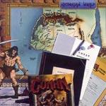Alt indholdet af 'Conan Roleplaying Game' bokssættet.