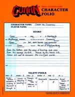 Conans karakterblad, der samtidig også viser, hvordan karakterskabelses-processen er - simpelt, men meget gennemtænkt: Det tangerer det geniale.