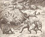 Menneske og de invaderende rumvæsner Xenoborgs i voldsom ildkamp