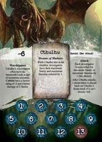 Én af spillets Great Old Ones - her er det Cthulhu himself. Bemærk, som i øvrigt ved alle spillets kort, counters og lignende, den flotte og stemningsfulde illustration.