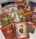 'Warhammer Fantasy Battle'. Alle udgaver fra den første til den nye syvende udgave af spillet