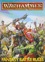 Boksforsiden til 'Warhammer Fantasy Battle 2nd edition', af John Blanche.