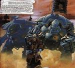 Skatteopkræveren - en af Imperiets håndlangere med sine robotter. Her kan man tydelig se, hvordan GW har hente inspiration fra ABC Warriors: de tidlige halvfemseres dreadnought-modeller fra GW har en slående lighed med robotterne her
