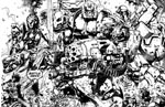 ABC Warriors som Kevin Walker tegner dem i sort/hvid