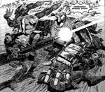 Robotten Mongrel går amok, tegnet af Henry Flint