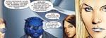 Hovedparten af teamet i 'De Priviligerede'. Fra venstre mod højre: Scott Summers (Cyclops), Hank McCoy (Beast), Kitty Pryde (Shadowcat) og Emma Frost