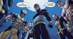Filmisk vinkel i forbindelse med albummets klimaks, hvor vi ser teamet i deres nye uniformer: Beast, Wolverine, Emma Frost, Cyclops, Shadowcat - og en gammel ven