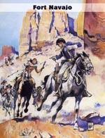 Forsideplanchen til 'Fort Navajo' fra Egmont/Serieforlagets 'Blueberry: Fort Navajo'-bog
