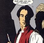 Jonathan Harker - bemærk ligheden med Keanu Reeves - og Dracula i baggrunden.