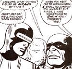 Cyclops, en meget uformeligt tegnet Iceman og The Beast. Fra nr. 2.
