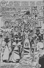 Det nye hold: I forgrunden Colossus, Storm, Thunderbird og Nightcrawler. I baggrunden Banshee, Sunfire og Wolverine. Fra 'Giant-Size X-Men' #1 i Dave Cockrums streg.