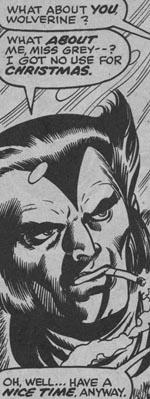 Første gang vi ser Logan/Wolverine uden maske på - fra #98, tegnet af Dave Cockrum.