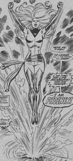 Jean Grey genopstår som Phoenix. I Dave Cockrums streg fra #101.