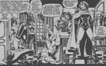 Hellfire-klubbens inderkreds. Det er Sebastian Shaw yderst til venstre og Jean Grey i lak-og-læder-outfit som Black Queen. Fra #132.
