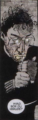 I 'Hold Me' er flere af historiens personer fra Dave McKeans side tegnet efter personligheder på den britiske tegneseriescene i 80'erne - her historiens forfatter Neil Gaiman