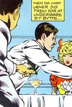 Bemærk både den grimme tegnestil og at alt spændingen fjernes ved at vise os, der bliver hældt gift i glasset