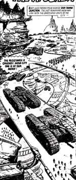 East Meg Ones tanks indtager Mega-City Ones hærgede gader.