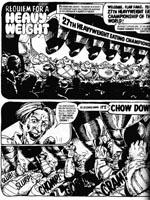 Fatties i det ulovlige æde-verdensmesterskab, tegnet af Carlos Ezquerra