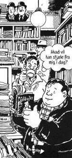 Alphonse og Esbirol i boghandlen.